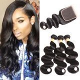 VTA0ZI Brazilian Body Wave with Closure in Natural Color