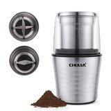 CHULUX Electric Spices and Coffee Grinder with 2.5 Ounce Two Detachable Cups for Wet/Dry Food