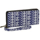 Te-Rich Canvas Zip Around Long Wristlet Wallet